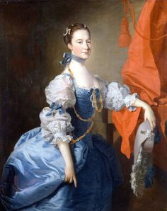 1750s - Lady in a Blue Gown (Lady Oxenden in a different pose) by Thomas Hudson