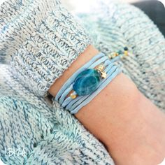 Blue Star Agate Zijde Wikkel Armband Goud ♡ available at www.ibizamusthaves.nl