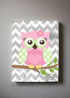 Girls wall art - OWL canvas art, Baby Nursery  Owl 16x 20 woodland nursery art