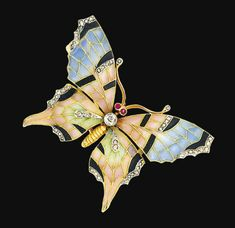 An early 20th century enamel and diamond brooch  Modelled as a butterfly, the wings decorated with pastel-coloured translucent enamel fields accented with rose-cut diamonds, to the old brilliant-cut diamond and ruby eyes, 4.7cm long