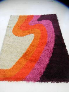 op art panton era orange midcentury 60s 70s german eames loft vintage shag rug   eBay