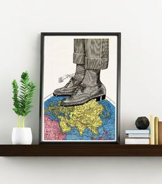 The world at your feets  Art Print vintage Map Oxford by PRRINT