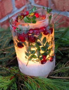 Lanterne feuilles fruits Noël dehors hiver - Des extérieurs festifs