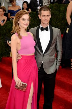 emma stone met gala 2014 pink Thakoon crop top and skirt