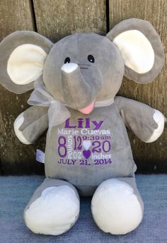 Monogrammed Baby Gift Personalized Elephant Birth Announcement by WorldClassEmbroidery, $42.99 Baby Girl Grey Elephant Purple and White