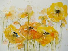 poppy paintings | Poppies Painting by Deborah Carman - Giggling Yellow Poppies Fine Art ...