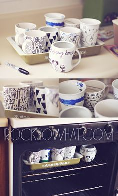 pottery painting at home with sharpies and dollar store coffee mugs