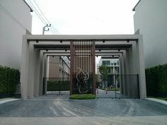 58 various unique entrance design designs - Houz on kinal. Entrance Gates, Main Entrance, House Entrance, Entrance Design, Gate Design, House Design, Front Garden Entrance, Arch Gate, Mall Facade