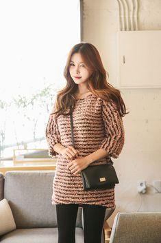Fuzzy Stripe Mini Dress
