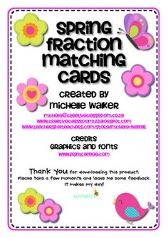 Freebie-Match fractions, fraction names and fraction pictures in this Spring themed activity. A worksheet is included for extra consolidation.