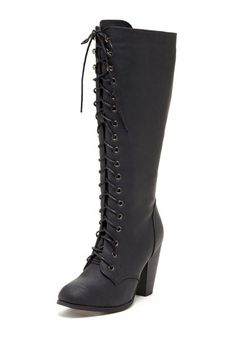 Lace-Up Knee-High Boot