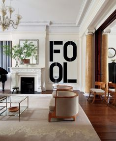 In the 1849 Greek Revival Greenwich Village townhouse of clients with an impressive art collection, lets Christopher Wool's Fool painting stand alone — but not out of place. Photo by Michael Moran/OTTO. Modern Interior Design, Interior Architecture, Interior And Exterior, Classic Interior, Room Inspiration, Interior Inspiration, Relax, Decoration, Hearth