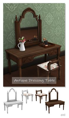 Antique Dressing Table -Need Vintage Glamour 📌T.U -recolor OK but,don't include the mesh. Sims 4 Cc Packs, Sims 4 Mm Cc, Sims Four, Vintage Furniture, Furniture Decor, Living Room Furniture, Furniture Design, Dresser Furniture, City Furniture