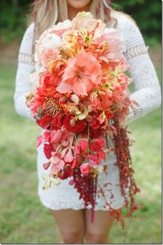 Color reference: light yellow to coral to red ombré wedding bouquet