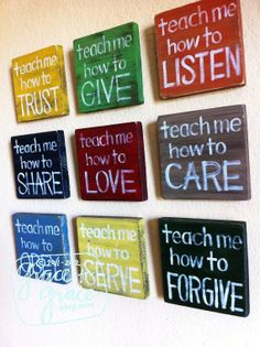 "Christian Art - SET of 9 - ""Teach Me"" Wood Blocks - Inspirational Art -Nursery Art- Child's Room, Home Decor, Faith Based Art"