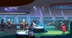 """I pixeled this for the official Hyperlight Drifter/ Starr Mazer crossover announcement.Cameos left to right: Sequel Police: Space Quest IVAhsoka Tano - Starr WarsBrick M Stonewood - Starr MazerWorf, son of Mogh - Starr TrekTimepod - Space Quest IVThe Drifter - Hyperlight DrifterrThere may be more """"r""""s in some of these.You can still back the epic StarrMazer kickstarter here."""