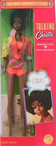 1969 - 1970 Talking Christie 1126 Original Brunette Hair - Hot Pink / Green Box / Clear Plastic Real Posin Stand - OSS:  Orange / Yellow Tie-Dyed - Black / AA / African American Barbie Doll - Mattel