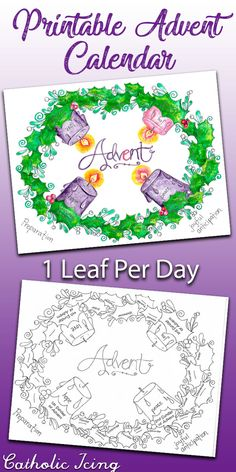 This printable Advent calendar is good for every year! It looks like an Advent wreath and the kids count down to Christmas- 1 holly leaf per day. Prints in black and white as a coloring page or in full watercolor color. Advent For Kids, Advent Calendars For Kids, Kids Calendar, School Calendar, August Calendar, Calendar Printable, Calendar Ideas, Advent Catholic, Catholic Crafts