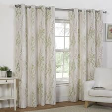 Bring the outdoors in with these gorgeous curtains in natural fresh, natural greens. Ready-made and ready to hang these quality lined curtains will make a masterpiece of your windows enhancing any decor. The eyelet design makes them quick and easy to hang too so you can refresh any room in an instant. <br> <br>Keep away from fire. <br> <br>Dry clean only. Cool iron. <br><br> Curtain 78% cotton, 22% polyester. Lining 70% polyester, 30% cotton.