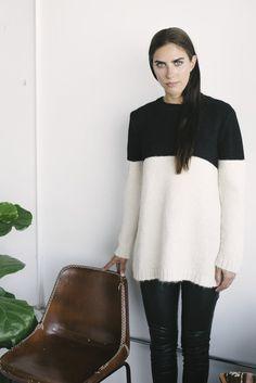 Colorblock Suri and Baby Alpaca Sweater with black leather leggings.