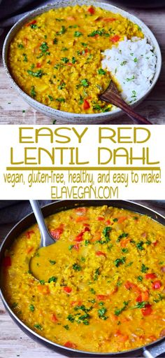 A creamy Red Lentil Dahl which is comforting, hearty, flavorful, and delicious. Vegan Lentil Recipes, Vegan Indian Recipes, Curry Recipes, Veggie Recipes, Asian Recipes, Whole Food Recipes, Vegetarian Recipes, Cooking Recipes, Healthy Recipes