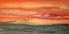 "Contemporary Landscape Artists International: Contemporary Landscape Art ,Abstract Sunset Painting ""Blazing Sky Reflected VIII"" by Colorado Contemporary Landscape Artist Kimberly Conrad"
