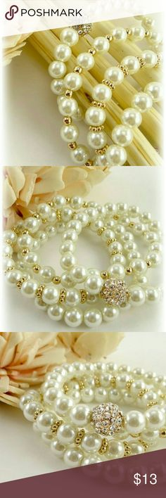 Penny Pearl Bracelet Set 4 faux pearl bracelets with high polished beads and rhinestones Jewelry Bracelets