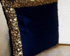 Navy Blue Throw Pillow, Navy gold sequin Pillow, sequin bead pillow, Navy blue Silk pillow cover, housewarming gift - Decor Home Navy Blue Cushions, Navy Blue Throw Pillows, Gold Pillows, Diy Pillows, Red Throw, Pillow Ideas, Blue Cushion Covers, Cushion Cover Designs, Cushion Halo