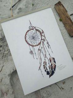 Indian Dream Catcher Print by MorgansCanvas on Etsy Native American Tattoos, Native Tattoos, Cherokee Indian Tattoos, Future Tattoos, New Tattoos, Body Art Tattoos, Tatoos, Atrapasueños Tattoo, Tattoo Drawings