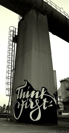 Calligraffiti - artful, mindful street art - we love how the type curves around the edge. Very clever.
