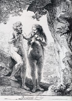Rembrandt (1606-1669) The Fall of Man Etching 1638 Private collection