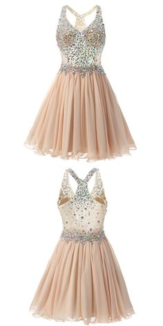 champagne homecoming dress 2016, 2016 homecoming dress, beads homecoming dress, dancing dress, party dress