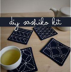 Sashiko Embroidery Coasters