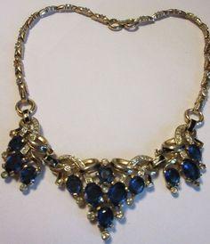 Vintage Trifari Rhinestone Enamel Necklace RARE Pat Pend 1940's Sapphire Blue Glass