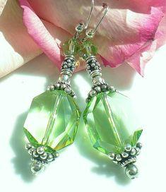 Earrings Peridot Swarovski Pendants w Peridot by MagdaleneJewels, $36.00