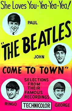 """""""The Beatles Come To Town."""" Fantastic A4 Glossy Art Print Taken from A Vintage Concert Poster by Design Artist http://www.amazon.co.uk/dp/B01564HRQ4/ref=cm_sw_r_pi_dp_i6s8vb19SR5M7"""