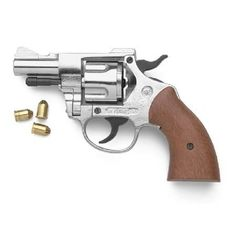 5 Shot 9mm Blank Detective Starter Pistol Nickel Finish by CA. $108.99. 2.5 inch barrel, Nickel, Length: 7.5 inches, Weight: 1.7 lbs. .357 magnum style revolver with wood grips, working single and double actions, swing out cylinder holds 5 blanks. Can be disassembled by Gunsmith.  Fires only specified blank ammo. Can not be made to fire any other ammo, blank or live fire.