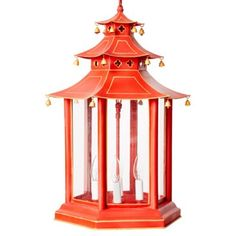 Check out this item at One Kings Lane! Faux-Bamboo Lantern, Red
