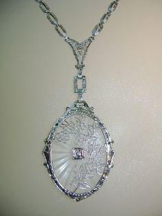 Art Deco Camphor Glass Pendant-14k & Diamond