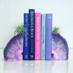 Agate Bookends // Boho Decor // Available in Pink, Purple, Blue, Teal and Natural // Grade A $60.25 Etsy