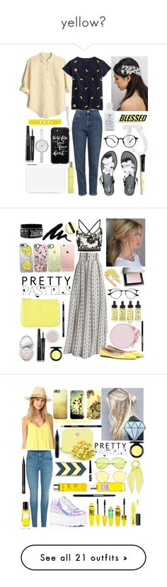 """""""yellow💛"""" by georgyana7770 ❤ liked on Polyvore featuring Topshop, Melissa, J.Crew, Rare London, Forever 21, Maison Margiela, Dolce&Gabbana, Espa, Bobbi Brown Cosmetics and PINTRILL"""