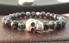 Men's Skull Bracelet with Snowflake Obsidian by Braceletshomme