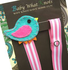 Girl Pacifier Clip Blue Bird Pacifier Clip Baby by BabyWhatKnots