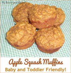 Apple squash muffins. A nutritious finger food for older babies and toddlers. Also great in a school lunch!