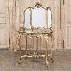 19th Century Italian Rococo Giltwood Vanity - Inessa Stewart's Antiques