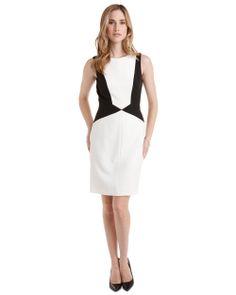 Tahari ASL Black & White Colorblocked Dress