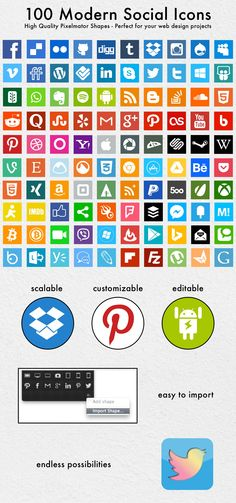 632fa760a7ec9 Updated - Premium Shapes - 100 Modern Social Icons