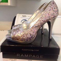 Multi colour sparkle platform pumps by Rampage