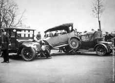 Crashed cars in Finchley Road, May 1924