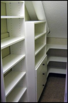 Sloped Ceiling with Shelving